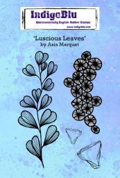 Luscious Leaves A6 Red Rubber Stamp by Asia Marquet